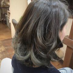 ボブ 外国人風 ハイライト グレージュ ヘアスタイルや髪型の写真・画像