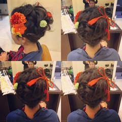 フェミニン 振袖 アップスタイル セミロング ヘアスタイルや髪型の写真・画像