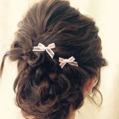 編み込み 結婚式 コンサバ パーティ ヘアスタイルや髪型の写真・画像