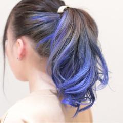 ロング ヘアアレンジ 個性的 グラデーションカラー ヘアスタイルや髪型の写真・画像