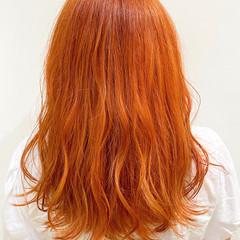 インナーカラー ストリート ロングヘアスタイル オレンジカラー ヘアスタイルや髪型の写真・画像