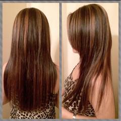 モード ロング アッシュ メッシュ ヘアスタイルや髪型の写真・画像