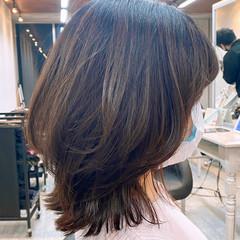 ナチュラル ミディアムレイヤー レイヤースタイル レイヤーボブ ヘアスタイルや髪型の写真・画像