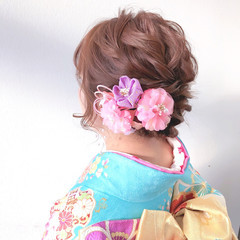 ミディアム 成人式ヘア フェミニン 成人式ヘアメイク着付け ヘアスタイルや髪型の写真・画像