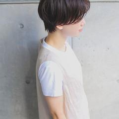ハンサムショート 小顔ショート パーマ グレージュ ヘアスタイルや髪型の写真・画像