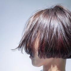 ブラウン ハイライト 前髪あり ナチュラル ヘアスタイルや髪型の写真・画像