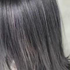 モード ミディアム グレーアッシュ ヘアスタイルや髪型の写真・画像