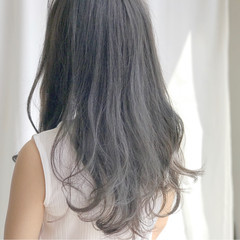 アッシュ アッシュグレージュ 黒髪 ロング ヘアスタイルや髪型の写真・画像