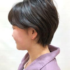 ナチュラル 暗髪女子 デート ショート ヘアスタイルや髪型の写真・画像