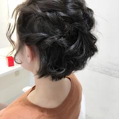 簡単ヘアアレンジ ショート 三つ編み ハーフアップ ヘアスタイルや髪型の写真・画像