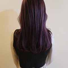 バイオレットカラー ロング バイオレット ブリーチ必須 ヘアスタイルや髪型の写真・画像