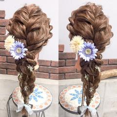 ハロウィン 編み込み フェミニン ディズニー ヘアスタイルや髪型の写真・画像