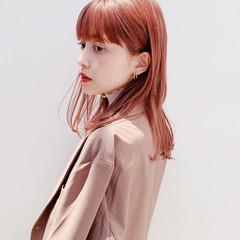 ピンクベージュ ピンクブラウン ナチュラル ミディアム ヘアスタイルや髪型の写真・画像