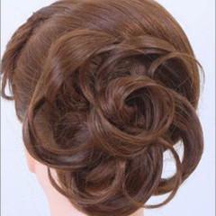 編み込み ミディアム ハーフアップ ヘアアレンジ ヘアスタイルや髪型の写真・画像