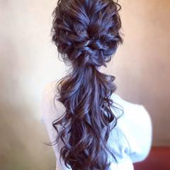 結婚式 簡単ヘアアレンジ ポニーテール お呼ばれ ヘアスタイルや髪型の写真・画像