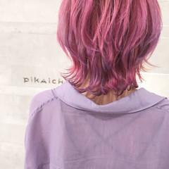 ハイトーンカラー ピンクラベンダー ストリート ウルフカット ヘアスタイルや髪型の写真・画像
