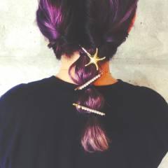 外国人風 ヘアアレンジ ストリート セミロング ヘアスタイルや髪型の写真・画像
