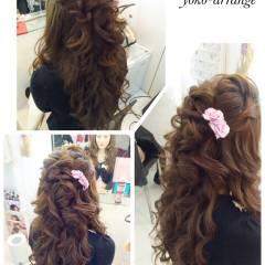 編み込み ルーズ ガーリー コンサバ ヘアスタイルや髪型の写真・画像