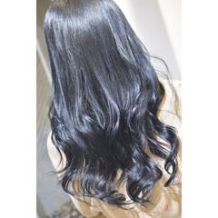 ロング ネイビーブルー ナチュラル 韓国ヘア ヘアスタイルや髪型の写真・画像