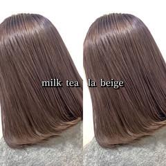 ストリート ミディアム ヘアカラー ミルクティー ヘアスタイルや髪型の写真・画像
