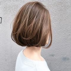 ボブ 切りっぱなし 抜け感 ハイライト ヘアスタイルや髪型の写真・画像