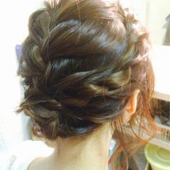 ゆるふわ 編み込み ミディアム まとめ髪 ヘアスタイルや髪型の写真・画像