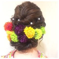 成人式 ヘアアレンジ セミロング 着物 ヘアスタイルや髪型の写真・画像