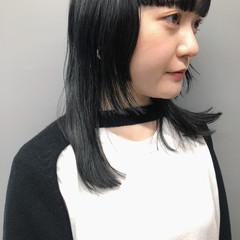 ミディアム 暗髪女子 個性的 モード ヘアスタイルや髪型の写真・画像