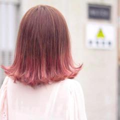 春 ピンク ミディアム ブリーチ ヘアスタイルや髪型の写真・画像