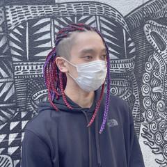 ストリート セミロング メンズヘア ブレイズ ヘアスタイルや髪型の写真・画像