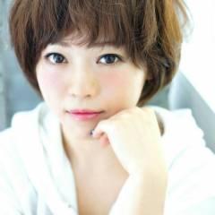 ショート ゆるふわ 丸顔 春 ヘアスタイルや髪型の写真・画像