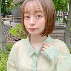 透明感カラー ミニボブ ナチュラル 切りっぱなしボブ ヘアスタイルや髪型の写真・画像