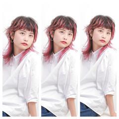 ミディアム ストリート ヘアアレンジ ブリーチ ヘアスタイルや髪型の写真・画像