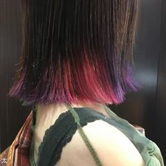 ボブ ピンク ストリート アッシュバイオレット ヘアスタイルや髪型の写真・画像