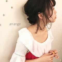 暗髪 ヘアアレンジ ミディアム デート ヘアスタイルや髪型の写真・画像