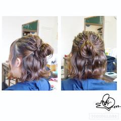 ヘアアレンジ ハーフアップ 簡単ヘアアレンジ ボブ ヘアスタイルや髪型の写真・画像