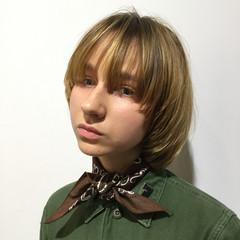 銀座美容室 ブロンド マッシュ ボブ ヘアスタイルや髪型の写真・画像