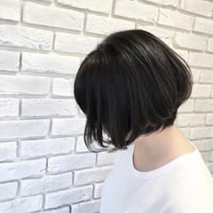 ストリート 前下がり 黒髪 ショートボブ ヘアスタイルや髪型の写真・画像