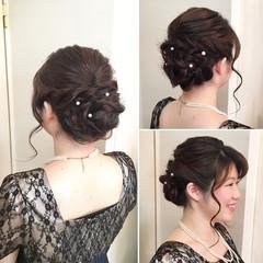 結婚式 ねじり ルーズ フェミニン ヘアスタイルや髪型の写真・画像