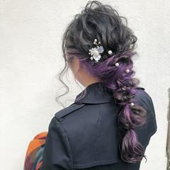 編みおろしヘア ヘアアレンジ ナチュラル 結婚式ヘアアレンジ ヘアスタイルや髪型の写真・画像