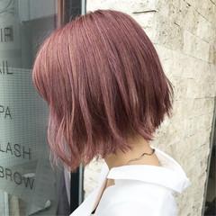 切りっぱなしボブ まとまるボブ ボブ ピンク ヘアスタイルや髪型の写真・画像