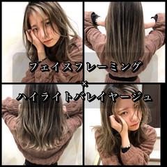 外国人風カラー インナーカラー セミロング ハイライト ヘアスタイルや髪型の写真・画像
