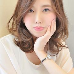 フェミニン ゆるふわ 大人かわいい ミディアム ヘアスタイルや髪型の写真・画像
