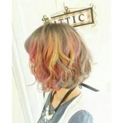 メッシュ ボブ ストリート カラーバター ヘアスタイルや髪型の写真・画像