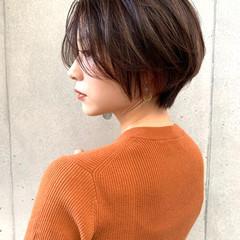 インナーカラー モード ハンサムショート 小顔ショート ヘアスタイルや髪型の写真・画像