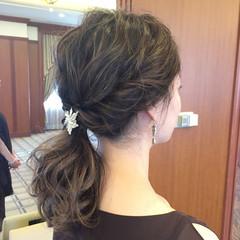 フェミニン 女子力 ヘアアレンジ セミロング ヘアスタイルや髪型の写真・画像