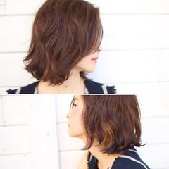 簡単ヘアアレンジ ボブ ガーリー ハイライト ヘアスタイルや髪型の写真・画像