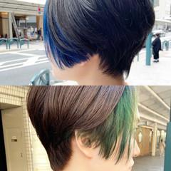 モード インナーカラー ブルー 大人ハイライト ヘアスタイルや髪型の写真・画像