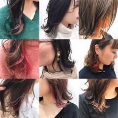 インナーカラーグレージュ ショートボブ グレージュ ナチュラル ヘアスタイルや髪型の写真・画像