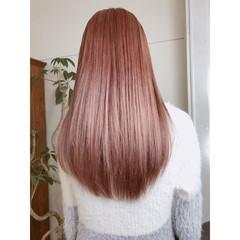 フェミニン ラベンダーピンク 春 セミロング ヘアスタイルや髪型の写真・画像